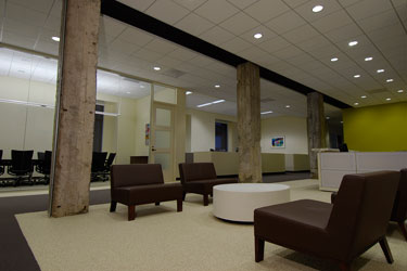 Reception area looking into the board room